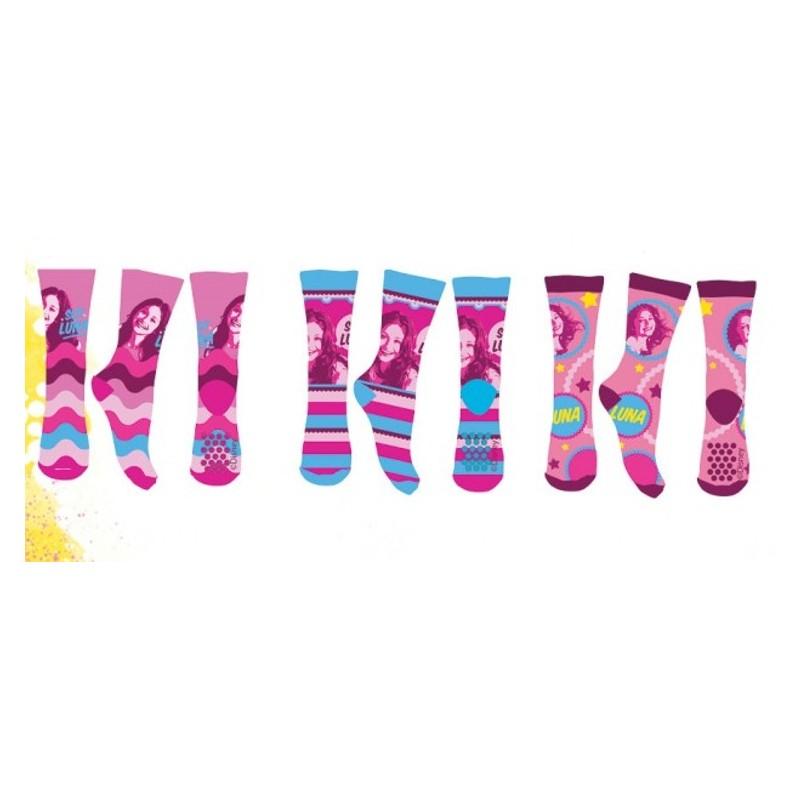 b800098fb2f81 Lot de 3 Paires de chaussettes anti dérapantes fille Soy Luna taille  27 30-. Loading zoom