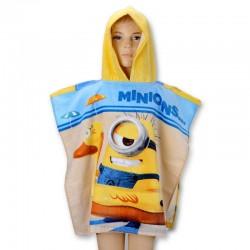 Poncho serviette de bain à capuche enfant 100% coton Minions plage piscine idée cadeau anniversaire noel neuf