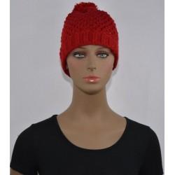 Bonnet à Pompon et paillettes femme tressé ROUGE vêtements hiver neuf