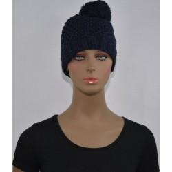 Bonnet à Pompon et paillettes femme tressé BLEU MARINE vêtements hiver neuf