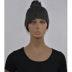 Bonnet à Pompon et paillettes femme tressé GRIS FONCE vêtements hiver neuf