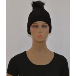 Bonnet à Pompon Très chaud interieur effet polaire noire femme vêtements hiver neuf