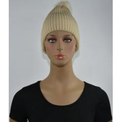 Bonnet à Pompon Très chaud interieur effet polaire BEIGE femme vêtements hiver neuf