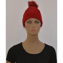 Bonnet à Pompon Très chaud interieur effet polaire ROUGE femme vêtements hiver neuf