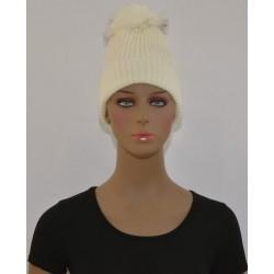 Bonnet à Pompon Très chaud interieur effet polaire BLANC femme vêtements hiver neuf
