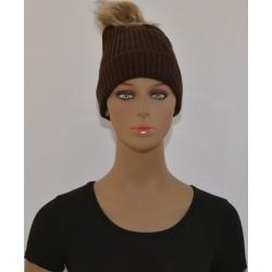 Bonnet à Pompon Très chaud interieur effet polaire MARRON femme vêtements hiver neuf