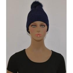 Bonnet à Pompon Très chaud interieur effet polaire BLEU MARINE femme vêtements hiver neuf