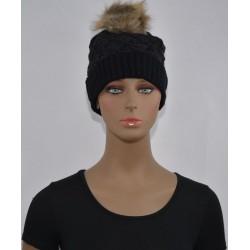 Bonnet fourrure Très chaud interieur effet fourrure noire femme vêtements hiver neuf