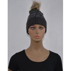 Bonnet fourrure Très chaud interieur effet fourrure GRIS femme vêtements hiver neuf