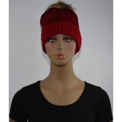 Bonnet fourrure Très chaud interieur effet fourrure ROUGE femme vêtements hiver neuf