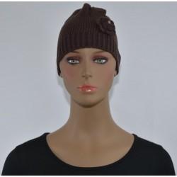 Bonnet Fleur sur le côté marron femme bonne qualité vêtements hiver neuf