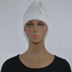 Bonnet Fleur sur le côté BLANC femme bonne qualité vêtements hiver neuf