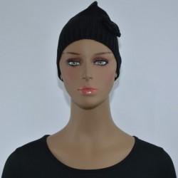 Bonnet Fleur sur le côté NOIR femme bonne qualité vêtements hiver neuf