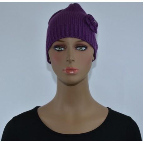 Bonnet Fleur sur le côté VIOLET femme bonne qualité vêtements hiver neuf