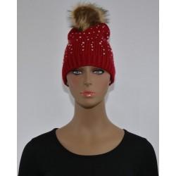 Bonnet Strass et perles a pompon ROUGE femme bonne qualité vêtements hiver neuf