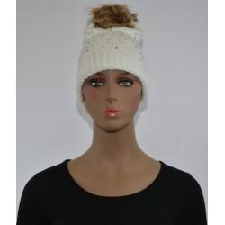 Bonnet Strass et perles a pompon BLANC femme bonne qualité vêtements hiver neuf