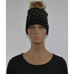 Bonnet Strass et perles a pompon NOIR femme bonne qualité vêtements hiver neuf
