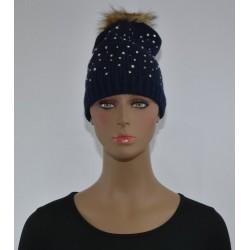 Bonnet Strass et perles a pompon BLEU MARINE femme bonne qualité vêtements hiver neuf