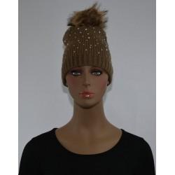 Bonnet Strass et perles a pompon BEIGE femme bonne qualité vêtements hiver neuf