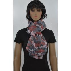 FOULARD GRIS ROUILLE camouflage viscose femme très bonne qualité vêtements idée cadeau anniversaire noel neuf