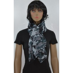 FOULARD GRIS BLEU camouflage viscose femme très bonne qualité vêtements idée cadeau anniversaire noel neuf