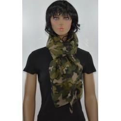 FOULARD VERT KAKI camouflage viscose femme très bonne qualité vêtements idée cadeau anniversaire noel neuf