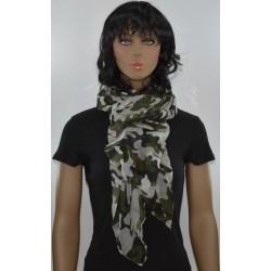 FOULARD KAKI GRIS camouflage viscose femme très bonne qualité vêtements idée cadeau anniversaire noel neuf