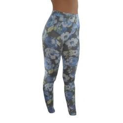 LEGGINGS Fleurs bleues du M/L AU XXL vêtement femme pantalon mode fashion neuf
