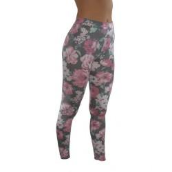 LEGGINGS Fleurs roses du M/L AU XXL vêtement femme pantalon mode fashion neuf