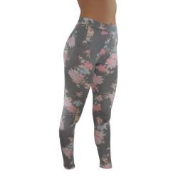 LEGGINGS Fleurs noire roses du M/L AU XXL vêtement femme pantalon mode fashion neuf