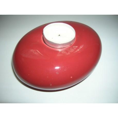 Bougeoir forme galet rouge-bordeaux plastifié tbe