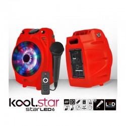 ENCEINTE MOBILE 200 W KARAOKE KOOLSTAR STARLED 6 A LED + MICRO + TELECOMMANDE ROUGE FETE ANNIVERSAIRE NOËL NEUF