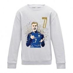 Sweatshirt manches longues football France enfant Antoine Griezmann No7 - champion du monde 2018 du 3 au 13 ans vêtement neuf