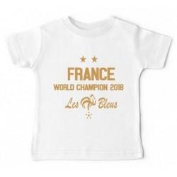 T-shirt manches courtes football bébé - France 2 étoile - World champions du monde 2018 du 0/3 au 18/24 mois neuf