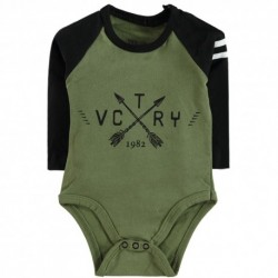 Body bébé manches longues swagg victory coupe déstructuré kaki du 3 au 24 mois vêtement cadeau neuf