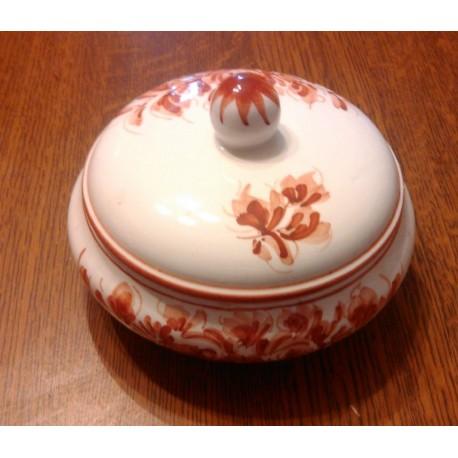 vide poches pot a bijoux céramique Italie avec couvercle blanc motif fleurs