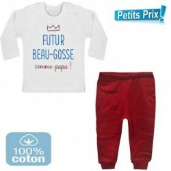 Ensemble bébé pantalon rouge + T-shirt manche longue Futur beau gosse comme papa 3/6 au 9/12 mois cadeau neuf