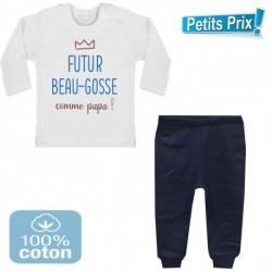 Ensemble bébé pantalon bleu + T-shirt manche longue Futur beau gosse comme papa 3/6 au 9/12 mois cadeau neuf