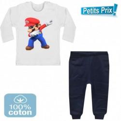 Ensemble bébé 2 pièces pantalon BLEU + T-shirt manche longue Mario BROS DAB 3/6 au 9/12 mois cadeau neuf