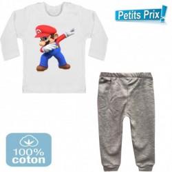 Ensemble bébé 2 pièces pantalon GRIS + T-shirt manche longue Mario BROS DAB 3/6 au 9/12 mois cadeau neuf