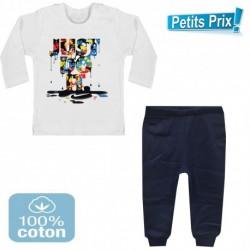 Ensemble bébé 2 pièces pantalon BLEU + T-shirt manche longue Just do it DU 3/6 au 9/12 mois cadeau neuf
