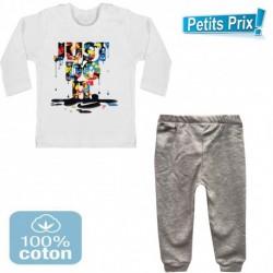 Ensemble bébé 2 pièces pantalon GRIS + T-shirt manche longue Just do it DU 3/6 au 9/12 mois cadeau neuf