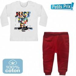 Ensemble bébé 2 pièces pantalon ROUGE + T-shirt manche longue Just do it DU 3/6 au 9/12 mois cadeau neuf