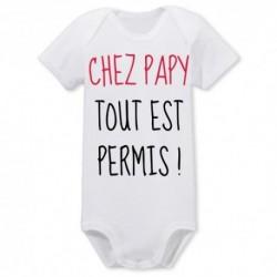 BODY BÉBÉ MIXTE MANCHES COURTES UNI imprimé - Chez papy tout est permis du 0/3 au 18/23 mois enfant cadeau neuf