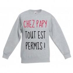 sweat-shirt enfant manche longues imprimé - Chez papy tout est permis du 5/6 au 12/13 ans enfant cadeau neuf