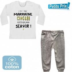 Ensemble bébé pantalon GRIS + T-shirt manche longue J'ai une marraine cinglé... DU 3/6 au 9/12 mois cadeau neuf
