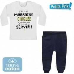 Ensemble bébé pantalon bleu + T-shirt manche longue J'ai une marraine cinglé... DU 3/6 au 9/12 mois cadeau neuf