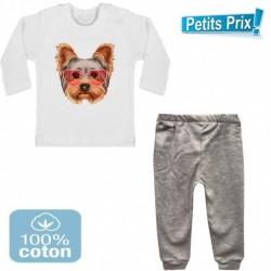 Ensemble bébé 2 pièces pantalon GRIS + T-shirt manche longue chien YORKSHIRE DU 3/6 au 9/12 mois cadeau neuf