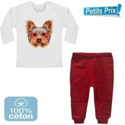 Ensemble bébé 2 pièces pantalon ROUGE + T-shirt manche longue chien YORKSHIRE DU 3/6 au 9/12 mois cadeau neuf