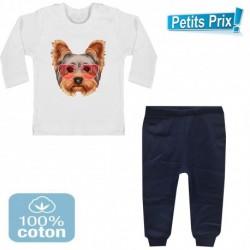 Ensemble bébé pantalon BLEU + T-shirt manche longue chien YORKSHIRE DU 3/6 au 9/12 mois cadeau neuf